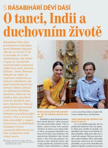Časopis Kvalitní ŽIVOT - 9 / 2015 (ZÁŘÍ) - Rozhovor s Rásabihárí déví dásí