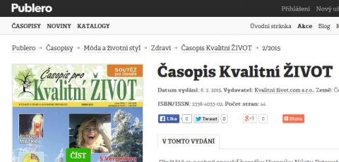 Časopis pro Kvalitní ŽIVOT v elektronické podobě na www.publero.cz